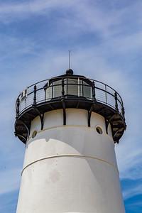 Close up Top of Edgartown Harbor Martha's Vineyard lighthouse