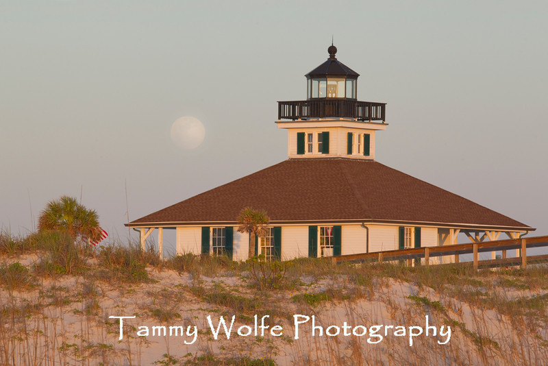 Boca Grande Lighthouse with Moon Rising