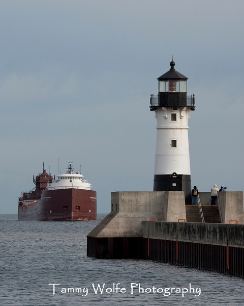 Duluth Harbor North Lighthouse with Approaching Ship