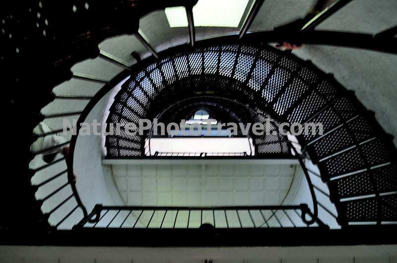 "St. Augustine Lighthouse (Stairway): The St. Augustine Light is an active lighthouse on the north end of Anastasia Island, within the current city limits of St. Augustine, Florida. The tower, built in 1874, was the site of the first lighthouse established in Florida by the new, territorial, American Government in 1824. According to some archival records and maps, this ""official"" American lighthouse was placed on the site of an earlier watchtower built by the Spanish as early as the late 16th century."