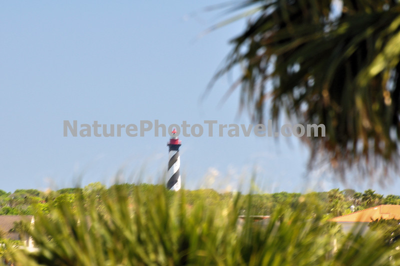 "St. Augustine Lighthouse (From Castillo de San Marcos): The St. Augustine Light is an active lighthouse on the north end of Anastasia Island, within the current city limits of St. Augustine, Florida. The tower, built in 1874, was the site of the first lighthouse established in Florida by the new, territorial, American Government in 1824. According to some archival records and maps, this ""official"" American lighthouse was placed on the site of an earlier watchtower built by the Spanish as early as the late 16th century."