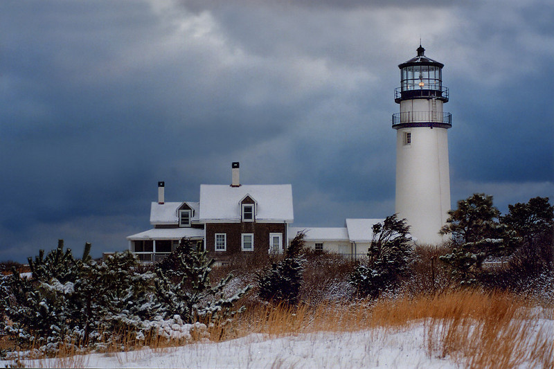 First Snow, First Light Highland Light North Truro MA