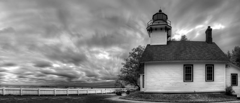 Old Mission Peninsula Lighthouse Panorama in Black and White