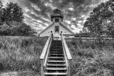 Old Mission Peninsula Lighthouse (Black and White)