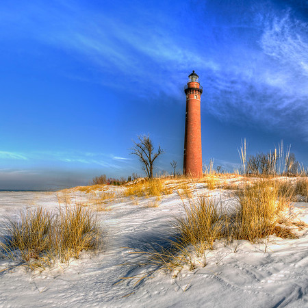 Little Sable Lighthouse in Winter