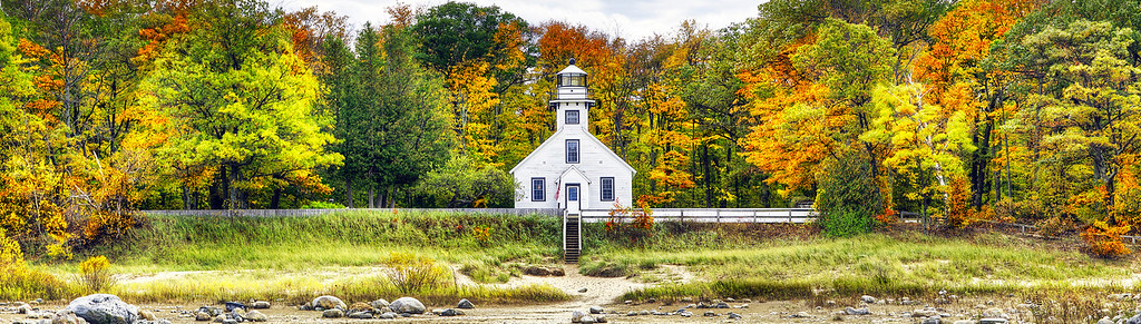 Old Mission Peninsula Lighthouse Fall Panorama