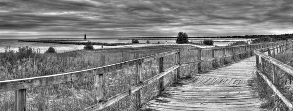 Manistique, Michigan Shoreline in Black and White
