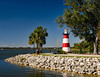 Located north of Orlando on Lake Dora the Mount Dora lighthouse is considered to be faux lighthouse even though it is registered as an active aid to navigation.