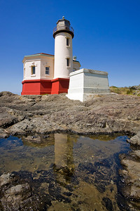 The Coquille River lighthouse on the southern Pacific Coast of Oregon first lit it's beacon on Feburary 29, 1896.  In 1939 electricity was brought to the area, the lighthouse abandonded and replaced by an automated beacon.