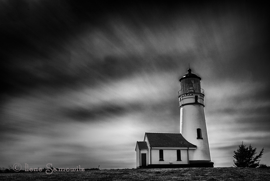 5-10-13 This is a 204 sec exposure of the Cape Blanco lighthouse taken on a very windy day in Oregon. I sat at a picnic table shielded by the gift store to shelter me and the camera from the 35 mph winds.