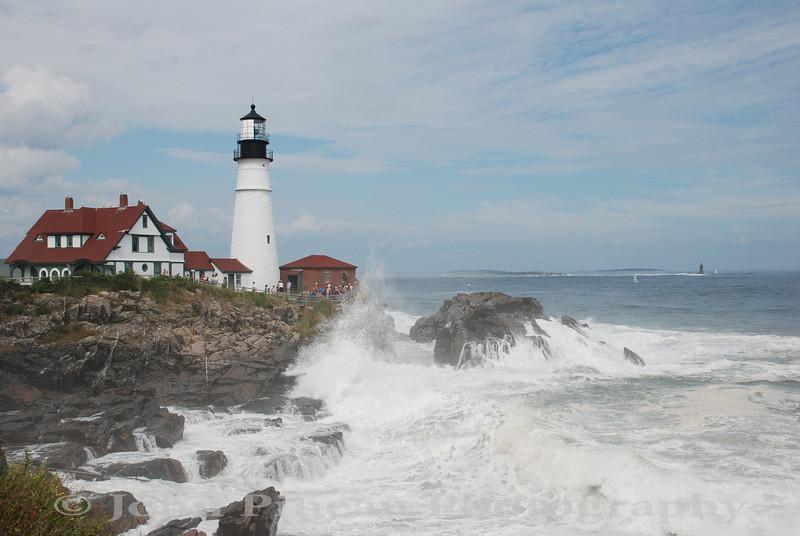 Portland Head Light - Cape Elizabeth, Maine<br /> 20090823-DSC_8247<br /> Crowd and surf courtesy of Hurricane Bill