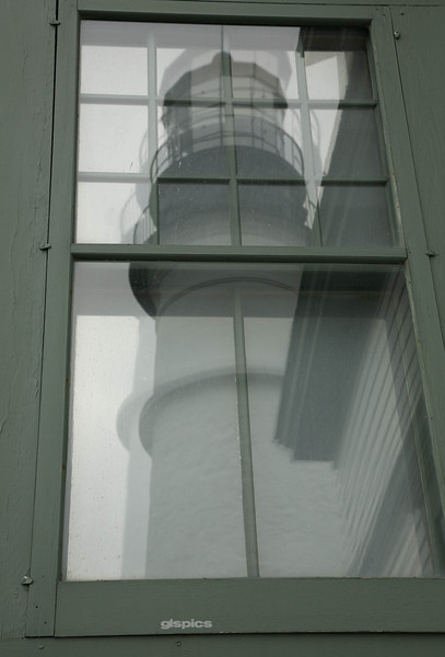 Portland Head Lighthouse reflected in the window