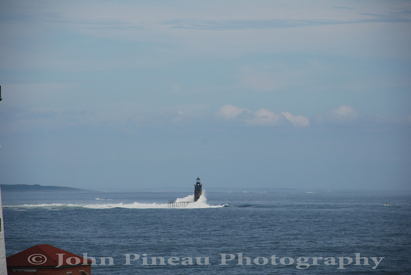 Ram Island Ledge Light - Cape Elizabeth, Maine<br /> 20090823-DSC_8219<br /> Surf courtesy of Hurricane Bill