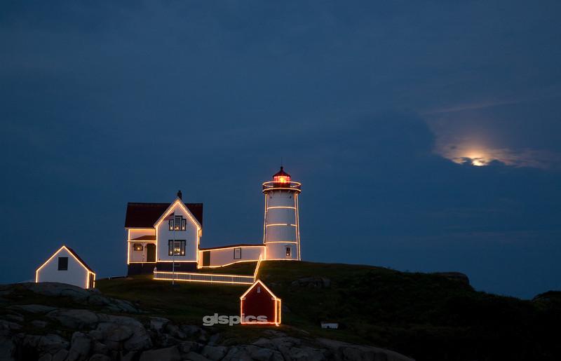 Peek A Boo Moon, Christmas in July 2012 at Cape Neddick, York, Maine