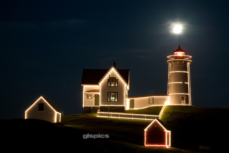Full Moon over the Nubble at Christmas in July