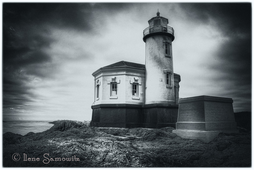 10-2-12 Coquille Lighthouse in Black and White - This is a 5 stop HDR processed in Photomatix and Silver Effex Pro 2.  <br /> <br /> Constructive feedback welcome.<br /> <br /> Thanks for all the comments and support around the La Conner images.  Trying to get my images posted earlier in the day and maybe soon to get back to early morning.