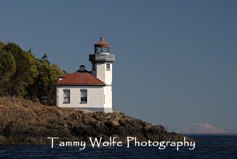 Lime Kiln Lighthouse, San Juan Island, Washington with Mount Rainier in the background