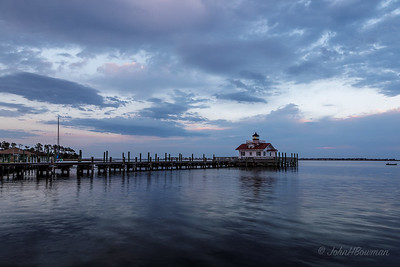 Roanoke Marshes Lighthouse, Manteo - dusk (7:15 EDT)