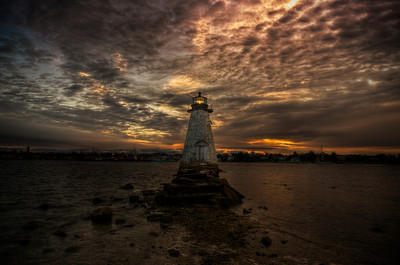 """Sunrise at Palmer's island Light with Tide Coming"" October 29th, 2011"