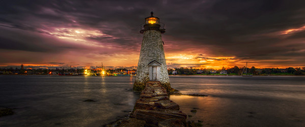"""Sunrise at Palmer's Island Light"" October 29th, 2011 New Bedford, MA"