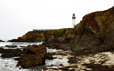 The Pidgeon Point lighthouse looks out over Half Moon Bay