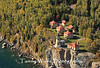 Aerial view of Split Rock Lighthouse with fall foliage