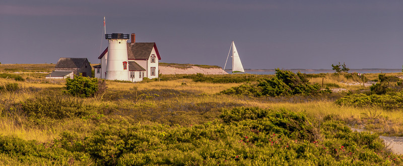 Stage Harbor Light no longer has a Light but remains a traditional Cape Cod scene.