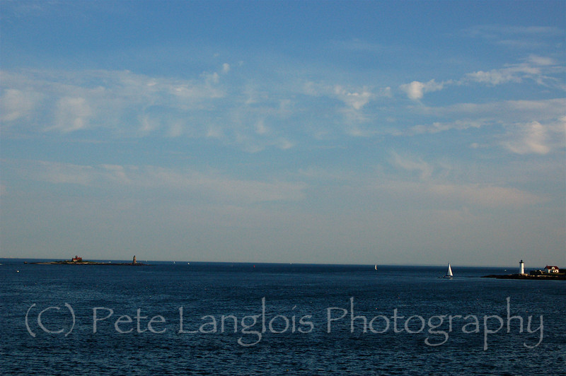 Whaleback is to the left and the Portsmouth Light to the right.  Taken at Fort McClary State Park