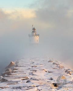 Spring Point Ledge Light Shrouded in Sea Smoke