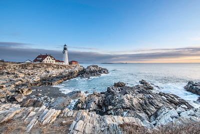 Sunrise at Portland Head light in December