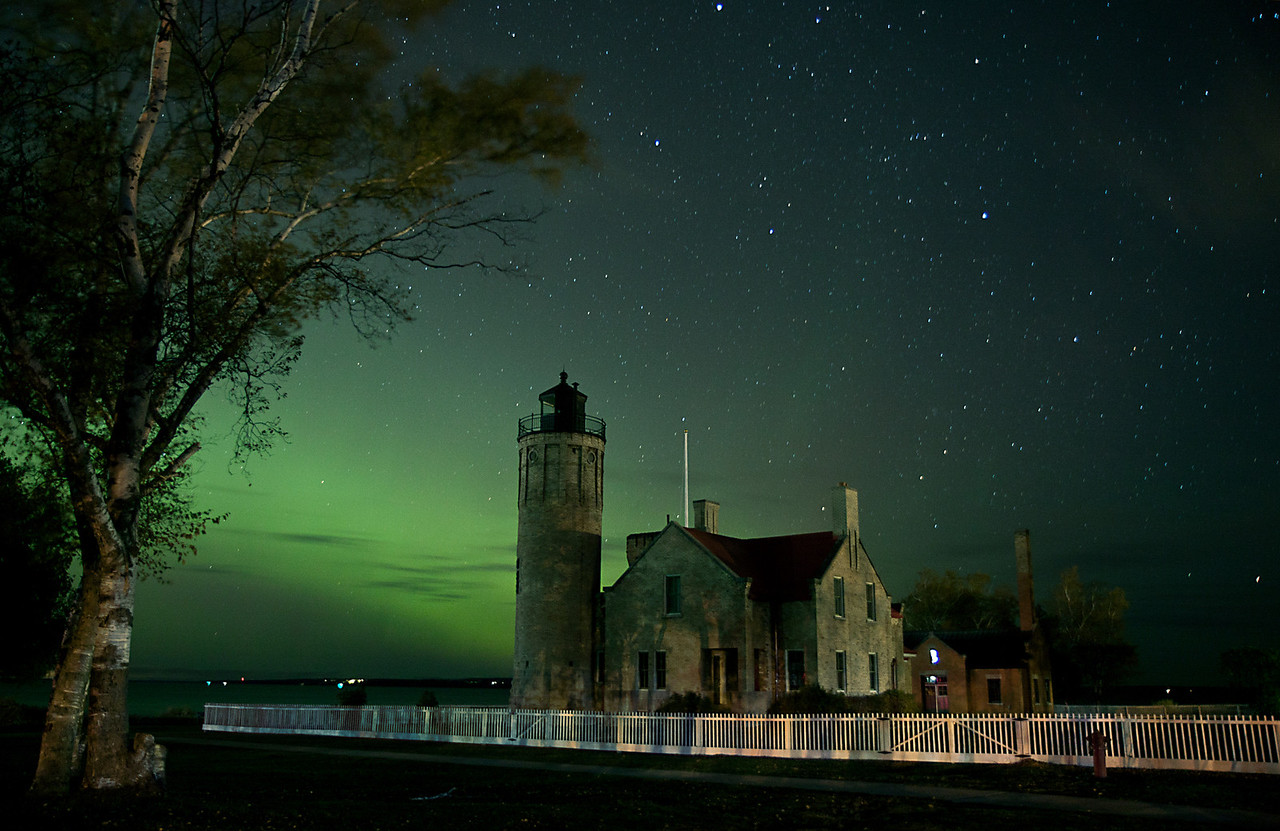 Old Mackinaw Lighthouse under the Stars and Northern Lights