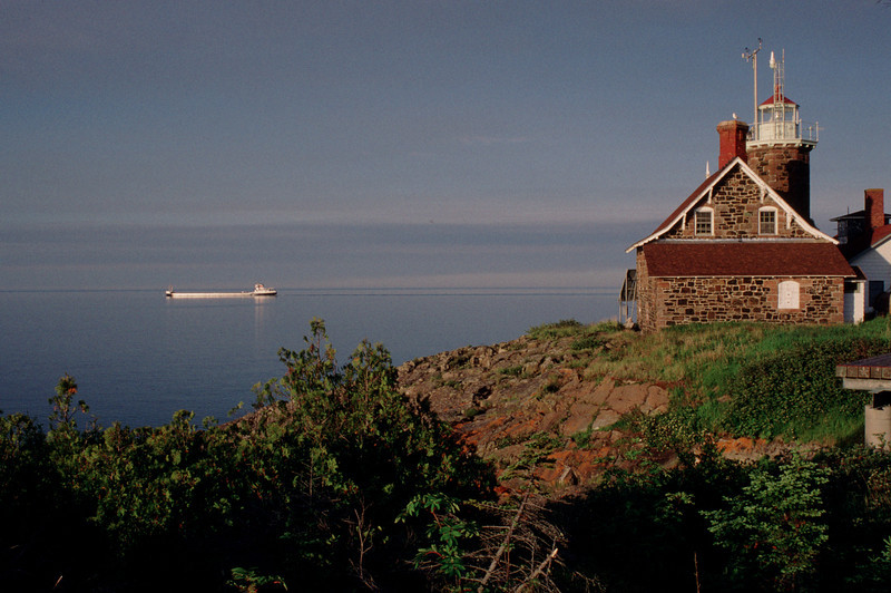 Freighter Passing Passage Island Lighthouse