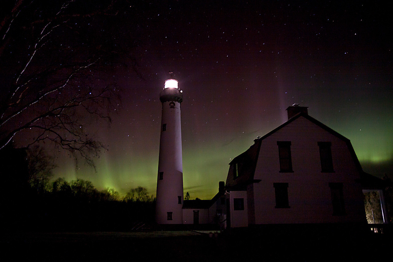 Presque Isle Light Aurora 2