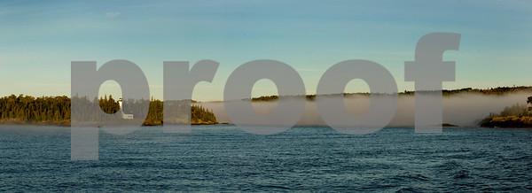 Isle Royale foggy morning panoramic