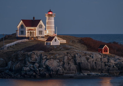 Nubble Lights at half mast