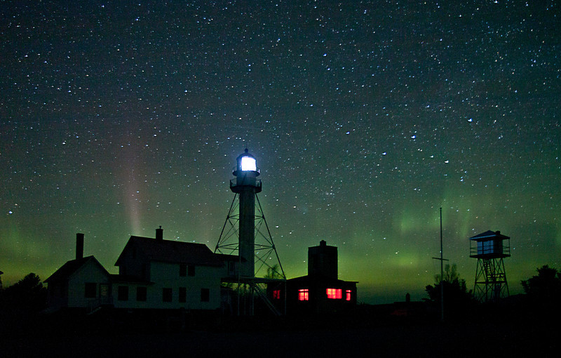 Whitefish Point Light Aurora 1