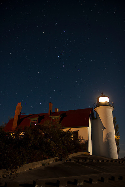 Orion over Point Betsie Lighthouse, verticle