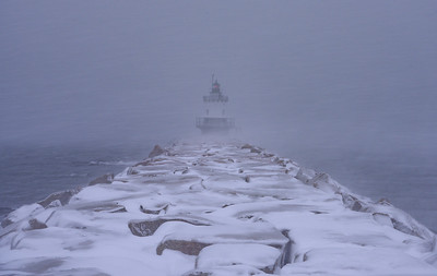Spring Point Ledge Lighthouse - Christmas Morning Blizzard 2017