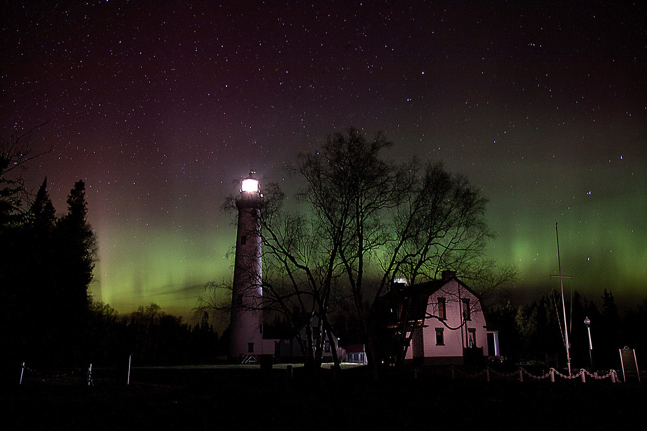 Presque Isle Light Aurora 1