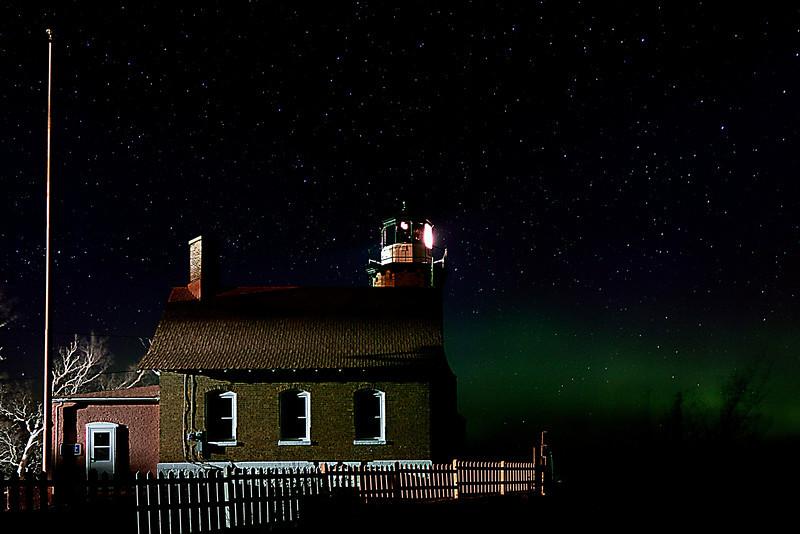 Eagle Harbor Light with Aurora Glow