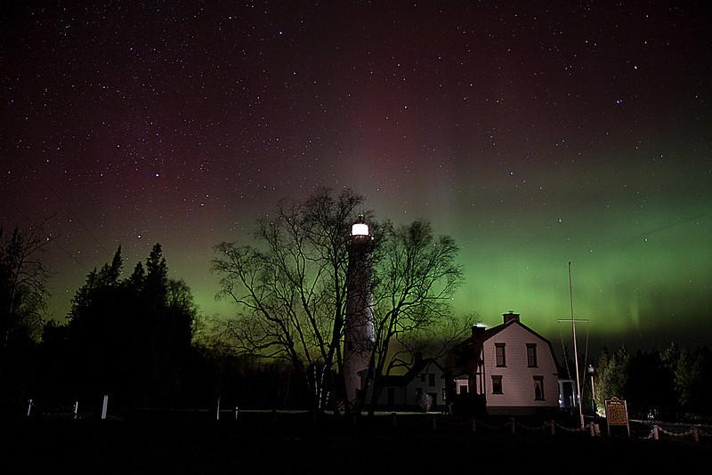 Presque Isle Light Aurora 3