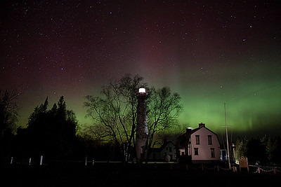 Presque Isle Light Aurora 3