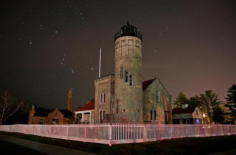 Orion over Old Mackinaw Light