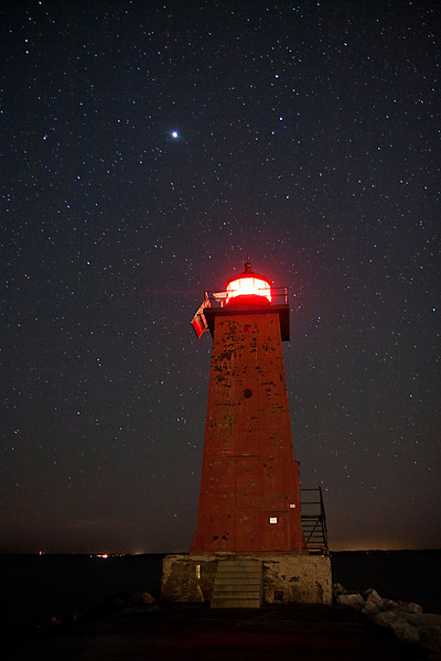 Manistique East Breakwater Light under the Stars