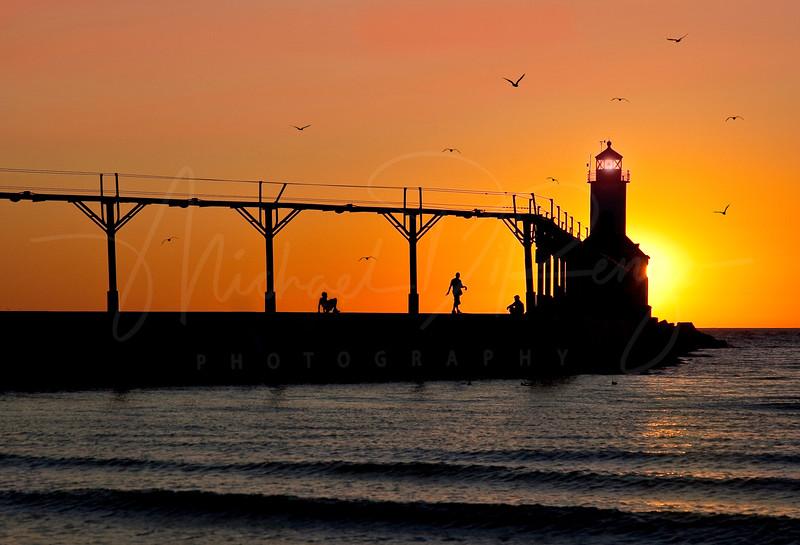 Michigan City Indiana at Sunset
