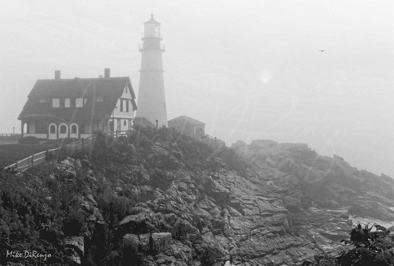 Portlandhead Lighthouse Maine in Fog