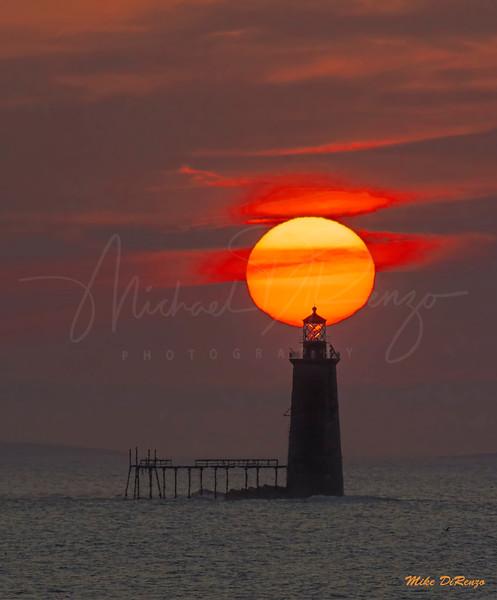 Ram's Island Ledge Lighthouse at Sunrise 9356 w57