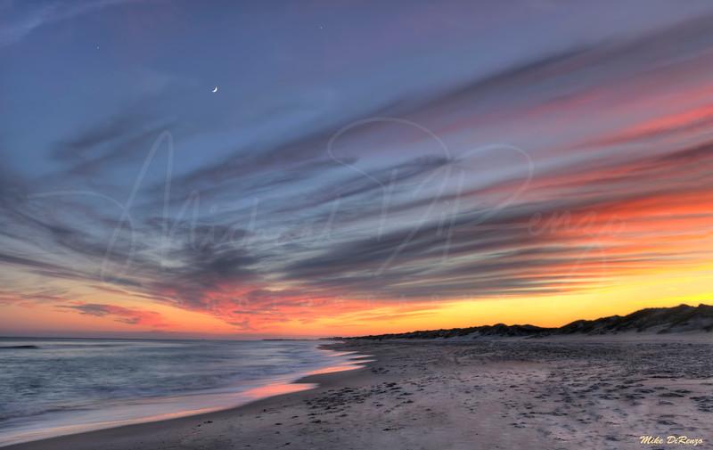 Colorful sunset along the Atlantic coast of Maryland.