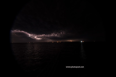 Lightning strikes oil rig