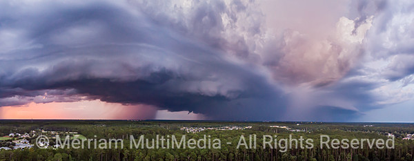 Wall Cloud Thunderstorm with Rain Curtains as see from Drone